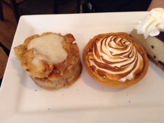 Bread Pudding and Lemon Meringue Tart