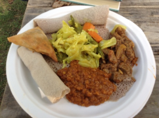 The combo platter from the Ethiopian food stand. I don't remember what it was called, but it was delicious. It included stewed beef, lentils and vegetables.