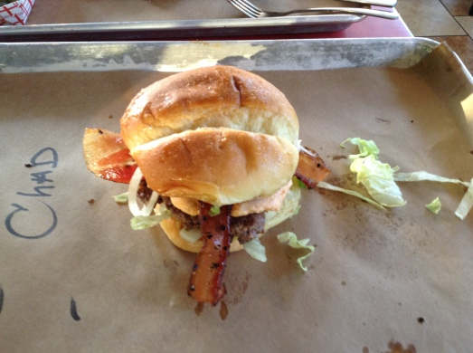 The amazing Sugarfire Burger with Pimento Cheese and Housemade Bacon.