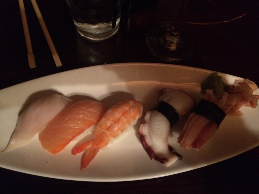 From right to left: Snow Crab, Eel, Shrimp, Salmon and White Tuna. The Tuna was the star of the show. It was melt-in-your-mouth smooth.